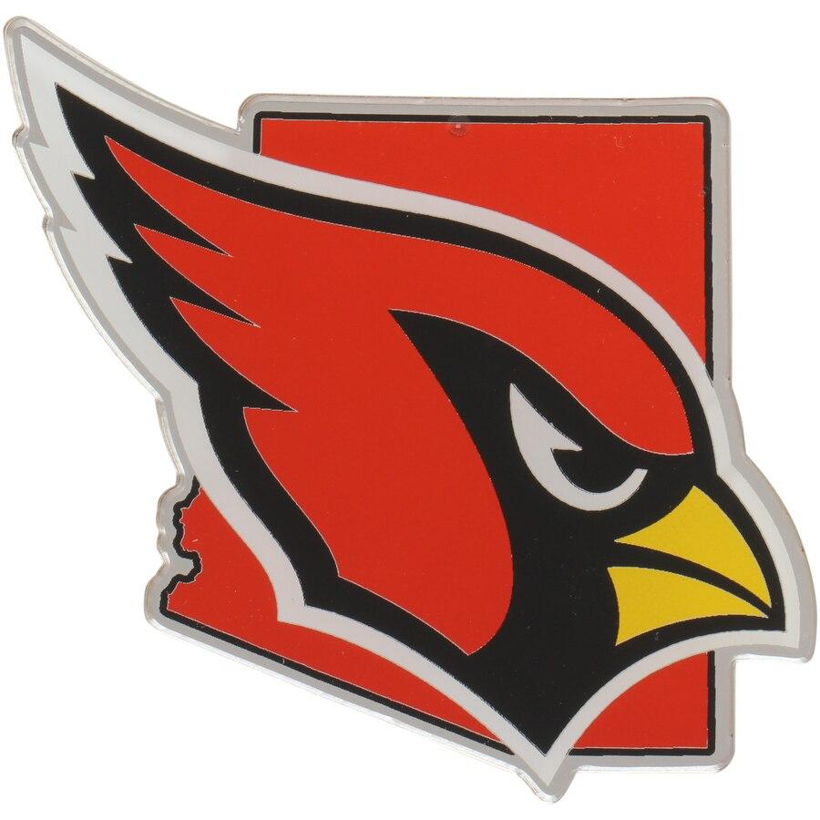 Arizona Cardinals State Shape Acrylic Metallic Auto Emblem.