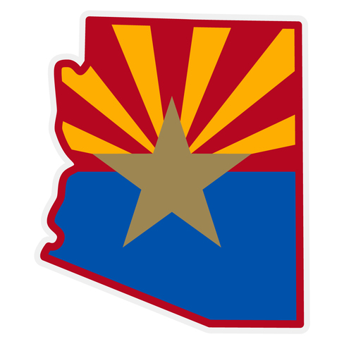 Arizona Flag on Arizona Outline Decal.
