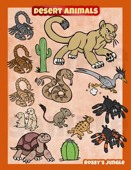 Desert animals clip art collection.