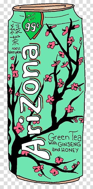 green Arizona green tea with ginseng and honey can art.