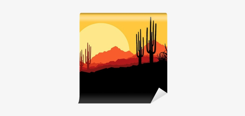 Desert Wild Nature Landscape With Cactus And Palm Tree.