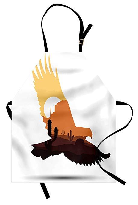 Amazon.com: Lunarable Western Apron, Silhouette of an Eagle.