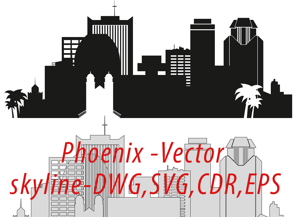 Phoenix Vector, Arizona Skyline USA city, SVG, JPG, PNG, DWG, CDR, EPS, AI.