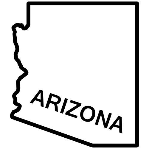 Arizona State Outline Decal Sticker. Available in 19 colors.