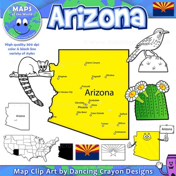 Arizona State Symbols and Map Clipart.