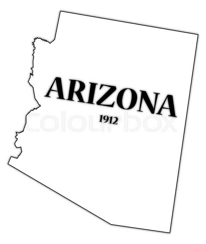 An Arizona state outline with the date.