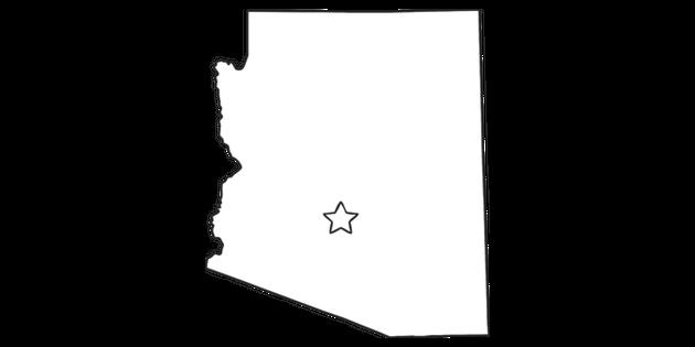 Arizona Outline USA State Map Phoenix Capital KS1 Black and White.