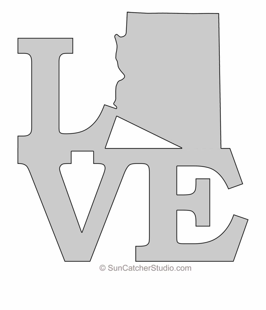 Arizona Love Map Outline Scroll Saw Pattern Shape State.