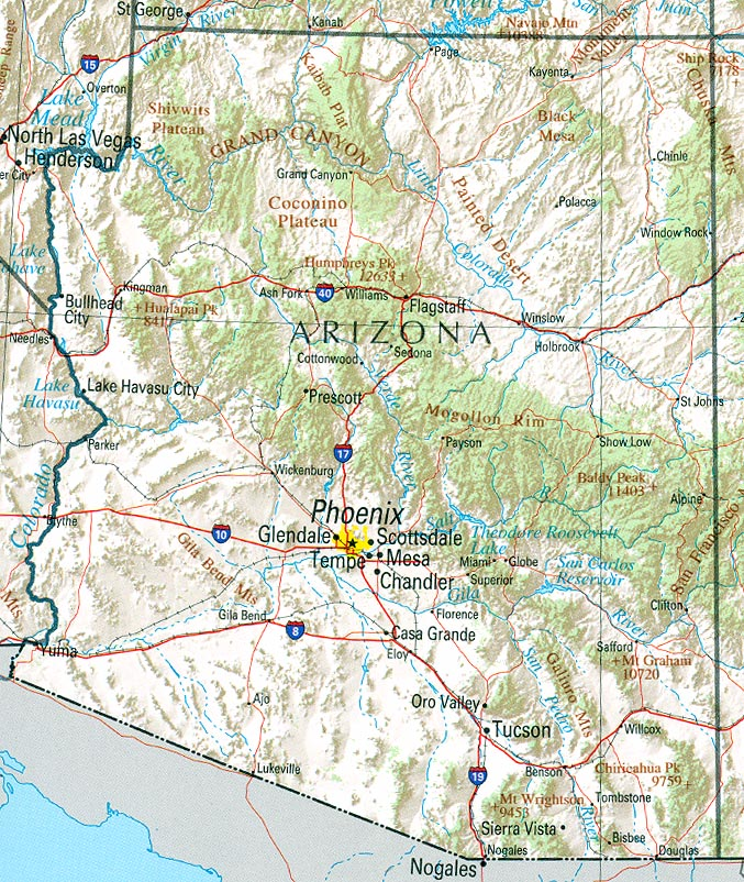 Arizona Topographical Map Clipart.