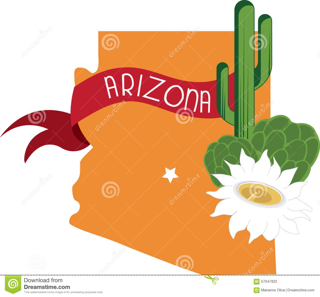 Arizona historical map clipart.