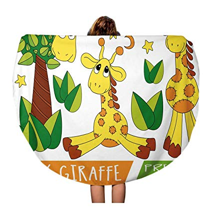 Amazon.com: Pinbeam Beach Towel Animal Baby Giraffe Kids.