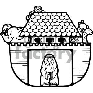 Noahs Ark black white clipart. Royalty.