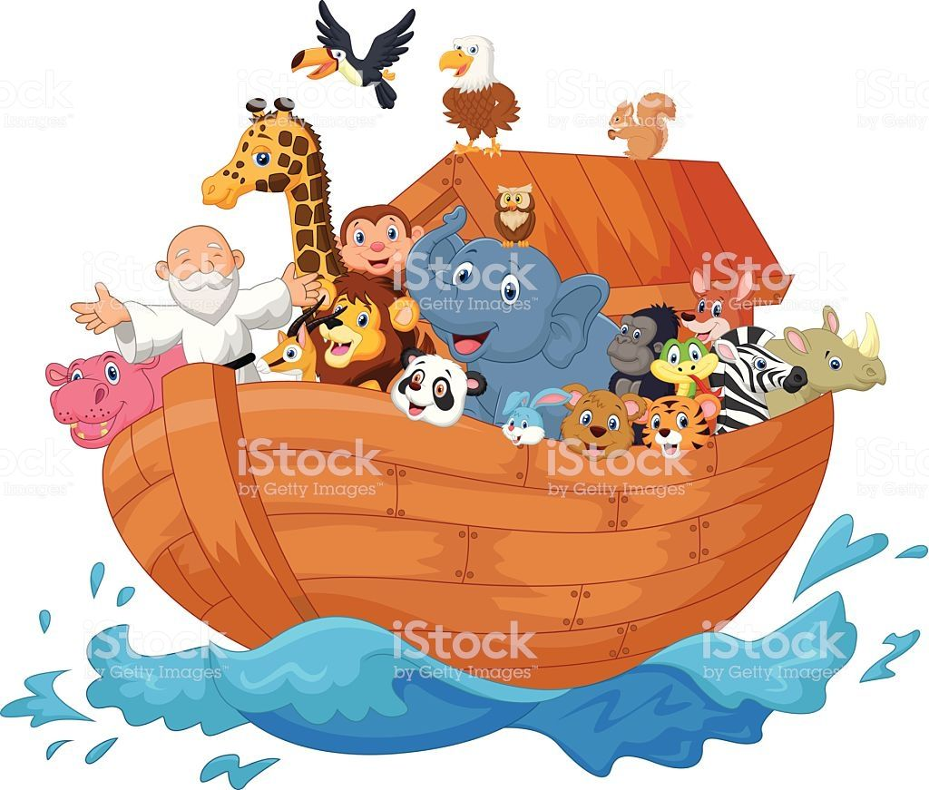 Vector illustration of Noah ark cartoon.