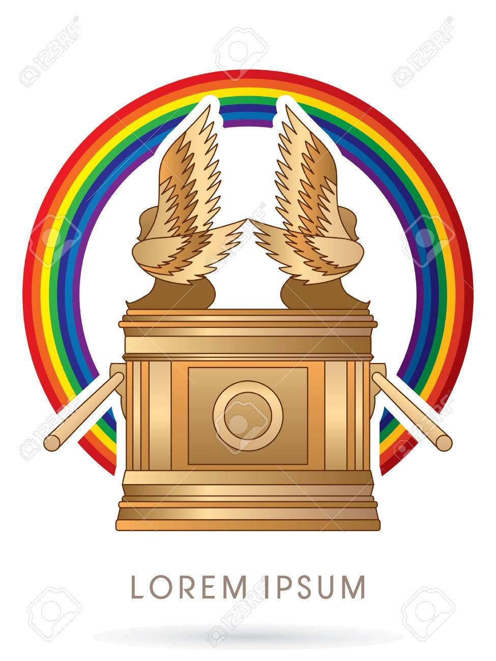 Ark of the Covenant. on rainbows graphic vector..