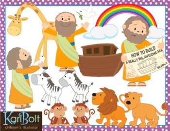 Noah\'s Ark, Animals and Scenes Clip Art.