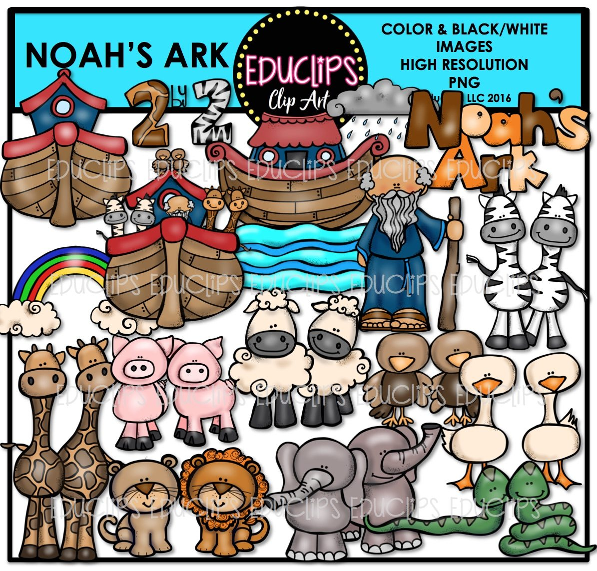 Noah\'s Ark Clip Art Bundle (Color and B&W).