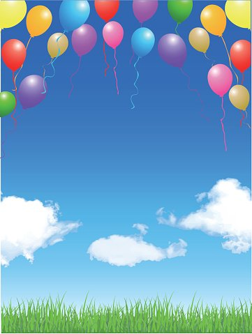 Balloon sky landscape background Clipart Image.