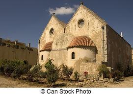 Stock Photographs of Arkadi monastery courtyard.