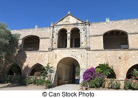 Stock Photos of Old monastery Arkadi in Greece, Chania, Crete.