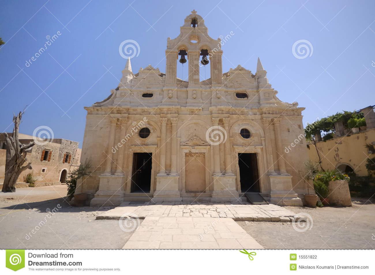 Arkadi Old Monastery, Crete, Greece Stock Photography.