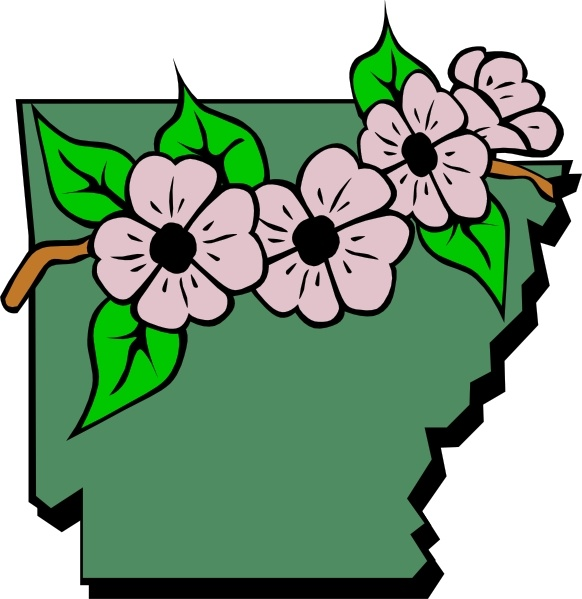 Arkansas Map And Flower clip art Free vector in Open office drawing.