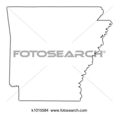 Drawings of Arkansas(USA) outline map k1015584.