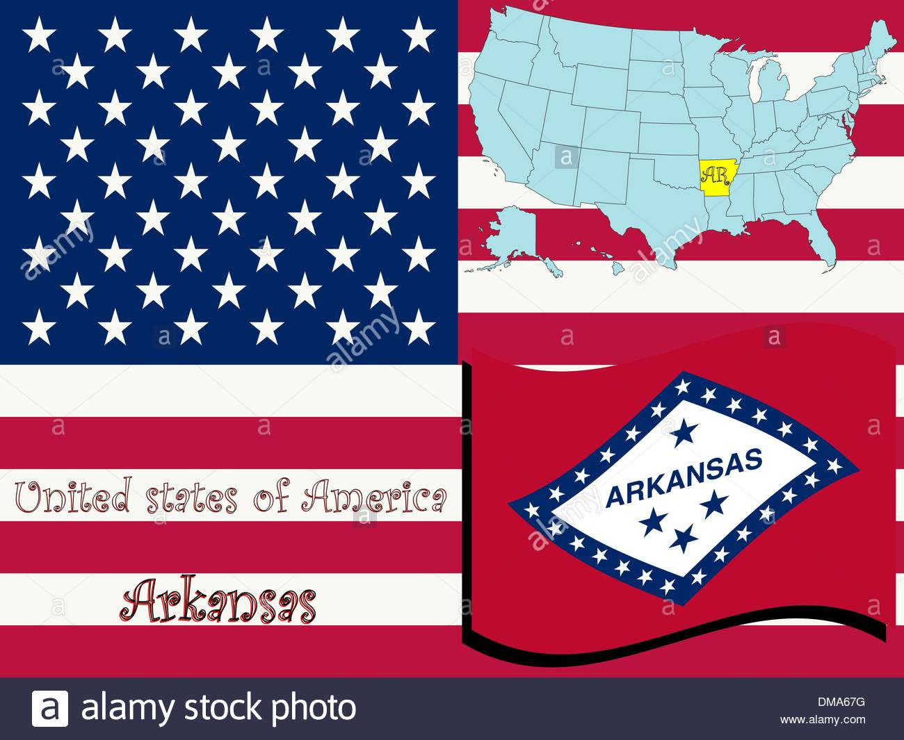 Arkansas State Illustration Stock Photo, Royalty Free Image.
