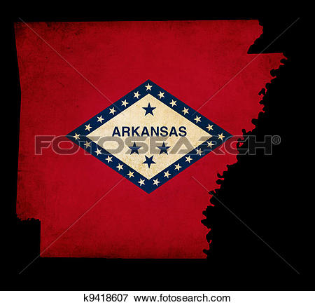Stock Illustration of USA American Arkansas State Map outline with.