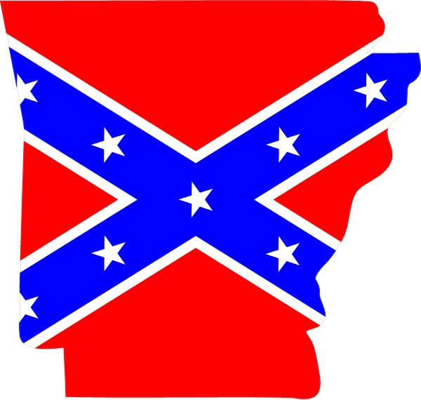 ARKANSAS REBEL / CONFEDERATE FLAG DECAL / STICKER 03.