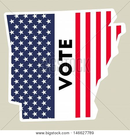 Usa Presidential Election 2016 Vote Sticker. Arkansas State Map.