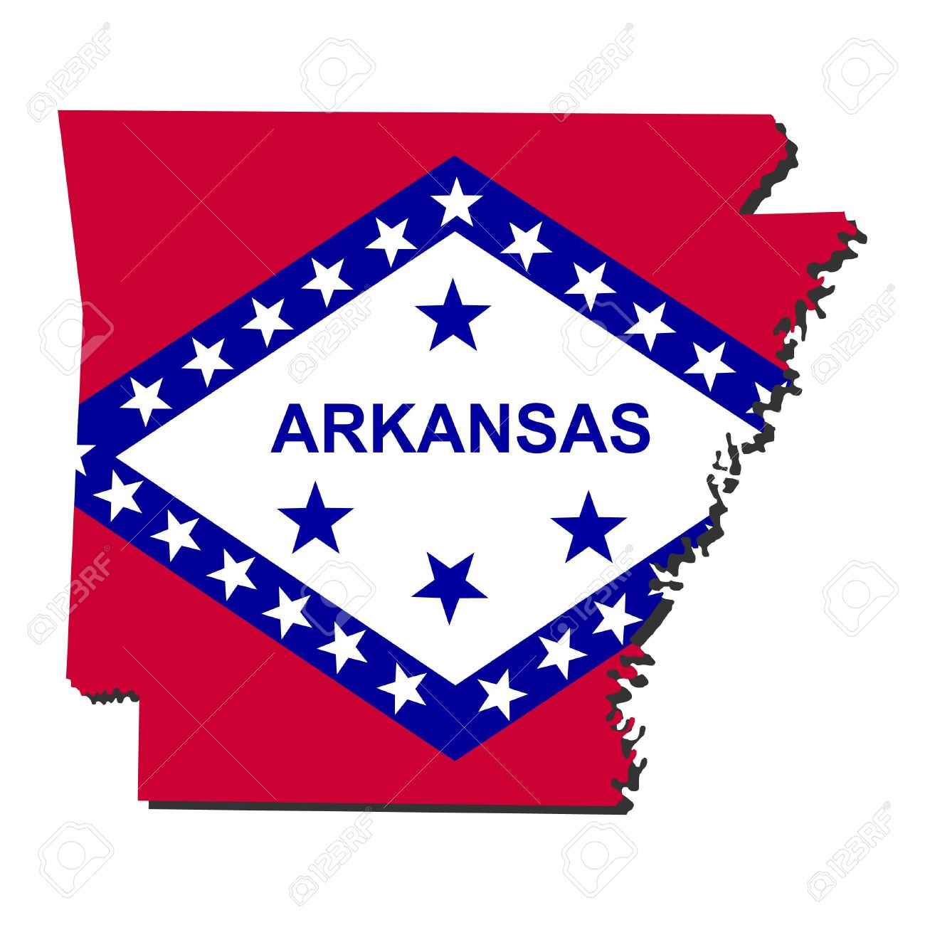 Map And Flag Of The State Of Arkansas Stock Photo, Picture And.