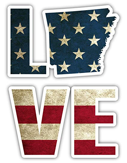 Amazon.com: Love Arkansas State Shape Vintage American Flag.
