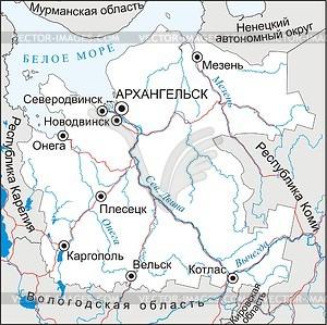 Arkhangelsk oblast map.