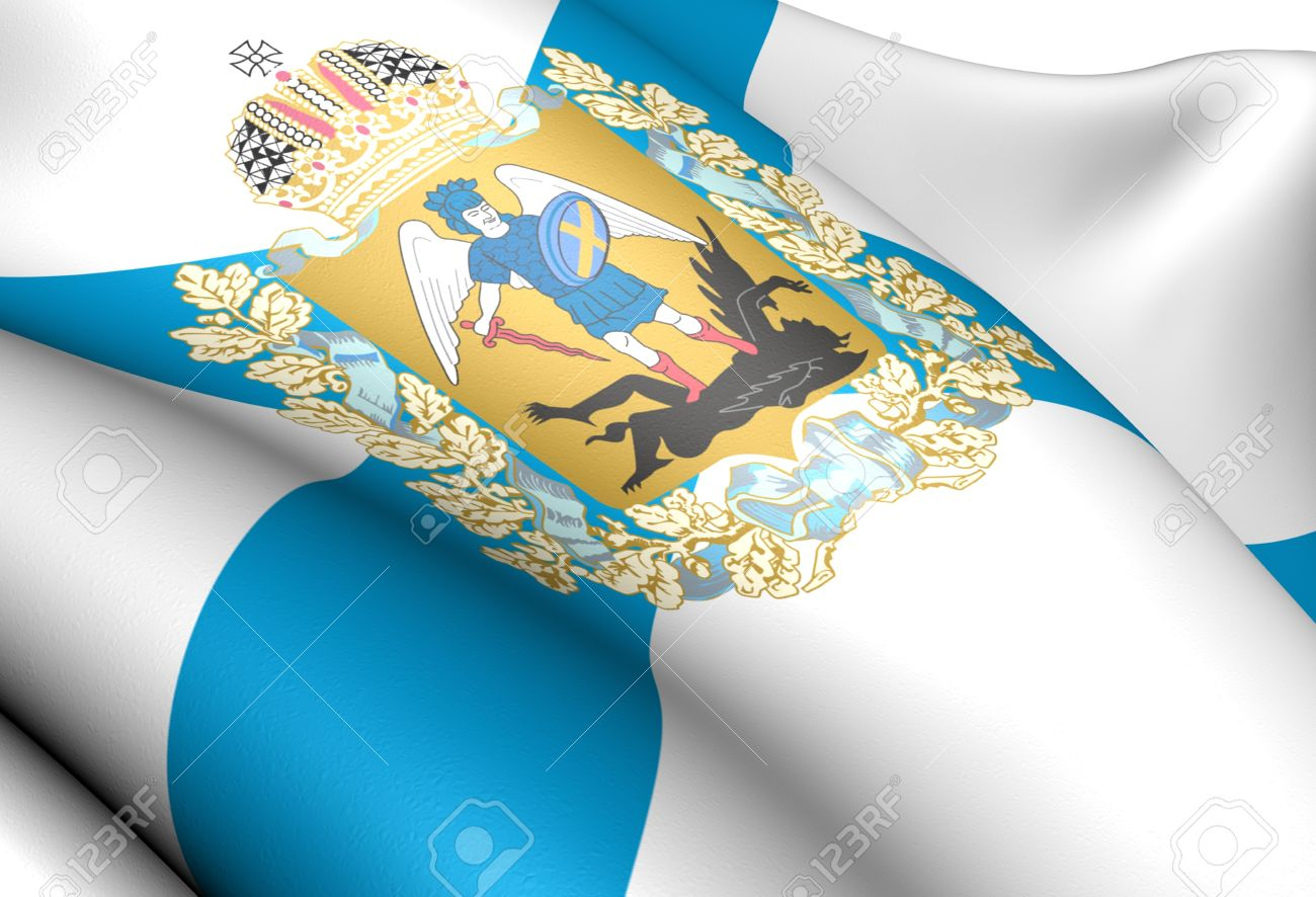 Flag Of Arkhangelsk Oblast, Russia. Close Up. Stock Photo, Picture.