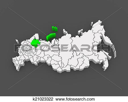 Clip Art of Map of the Russian Federation. Arkhangelsk region.