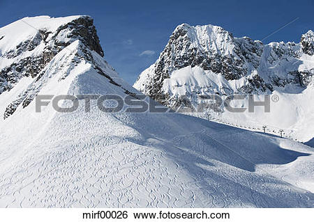 Stock Images of Austria, Arlberg, Mountain scenery, ski tracks on.
