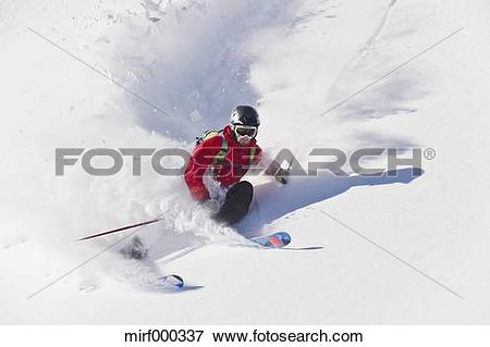 Picture of Austria, Zuers, Young man doing telemark skiing on.