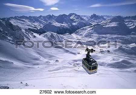 Stock Photo of Overhead cable car in mountain range, Valluga Bahn.