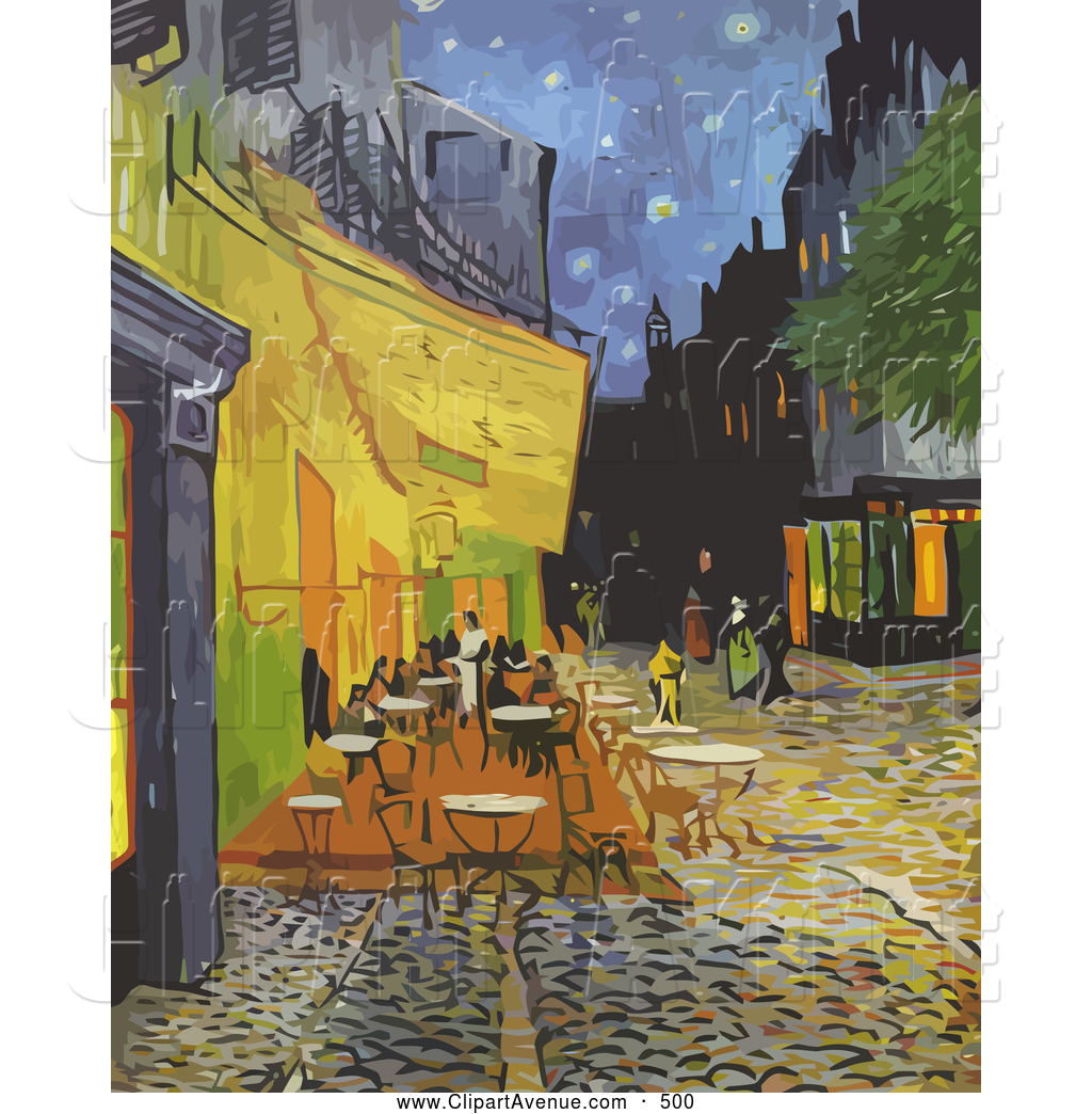 Avenue Clipart of a Street Cafe Terrace at Night on the Place Du.