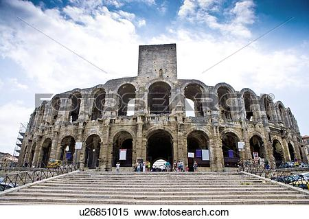 Stock Image of Arles, France, Exterior of the Arles antique Roman.