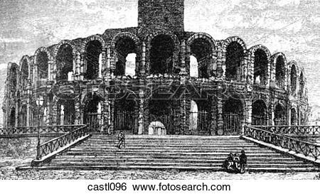 Stock Illustration of Coliseum at Arles, France castl096.