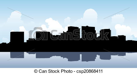 Vector Clip Art of Arlington County Skyline.