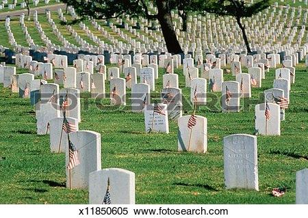 Stock Image of Tombstones in Arlington National Cemetery x11850605.