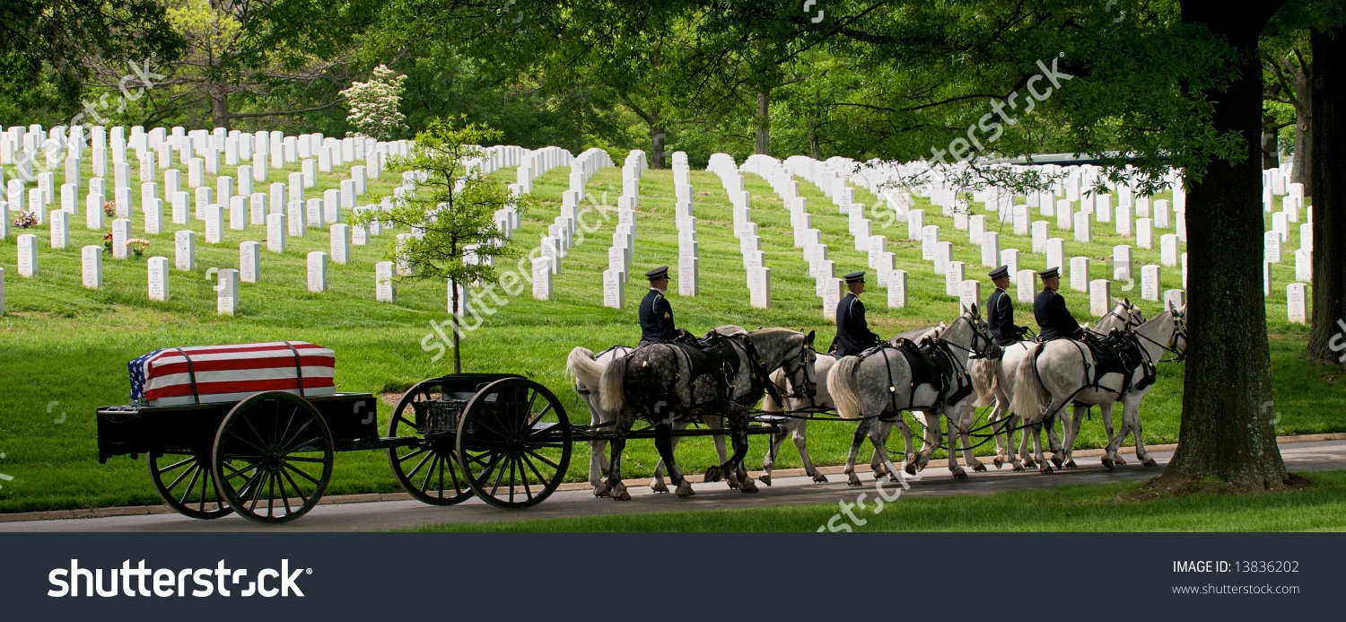 Military Burial Ceremony Arlington National Cemetery Stock Photo.