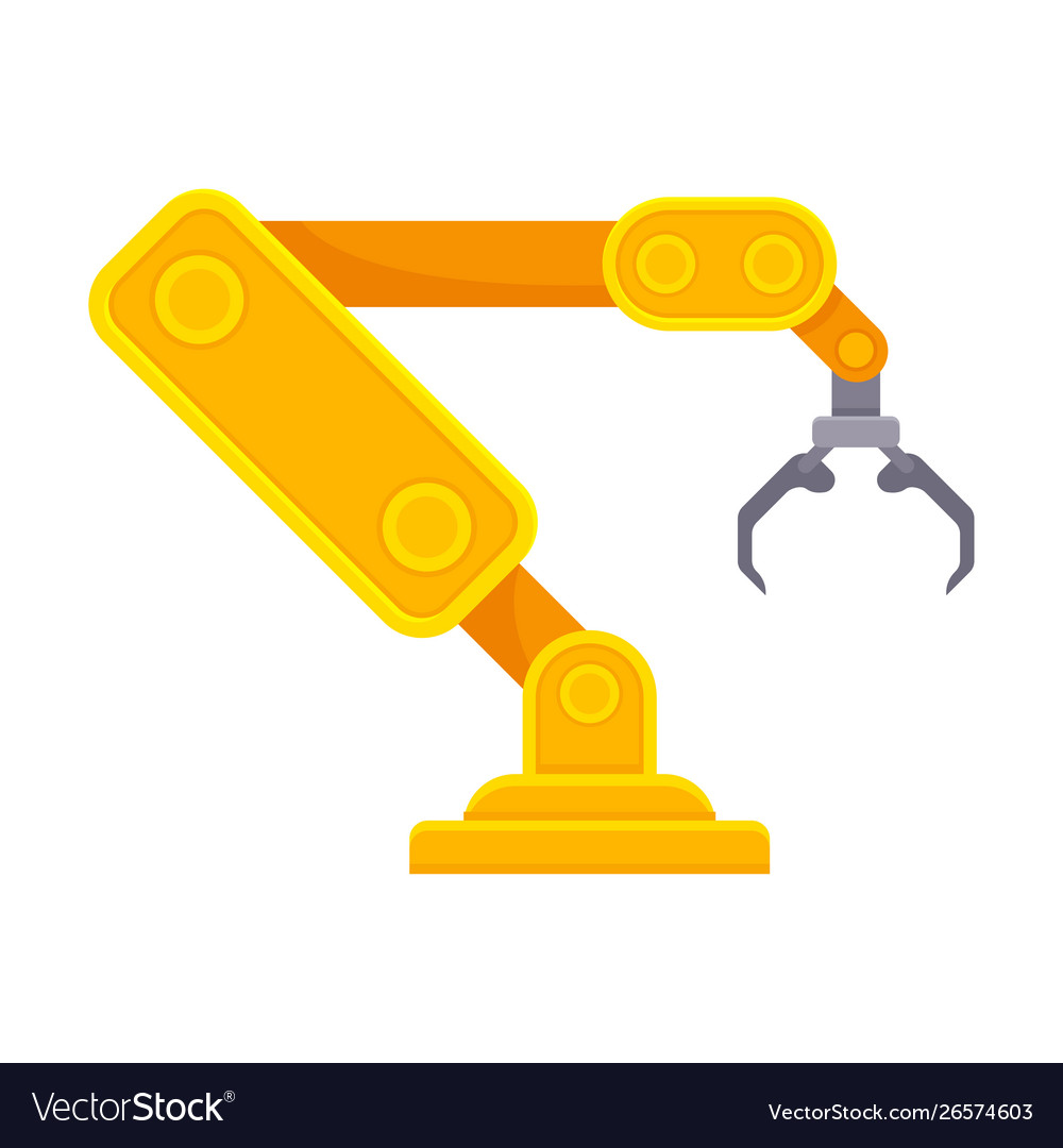 Orange robotic arm with open claw.