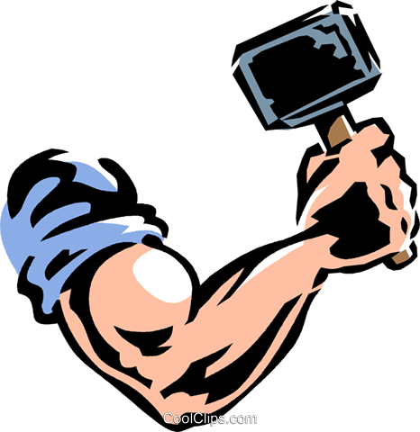 arm and hammer Royalty Free Vector Clip Art illustration.