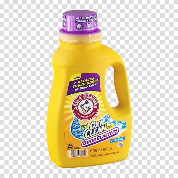 Laundry Detergent Arm & Hammer OxiClean, others transparent.