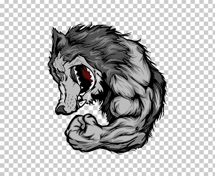 Gray Wolf Cartoon Arm PNG, Clipart, Big Cats, Black And.