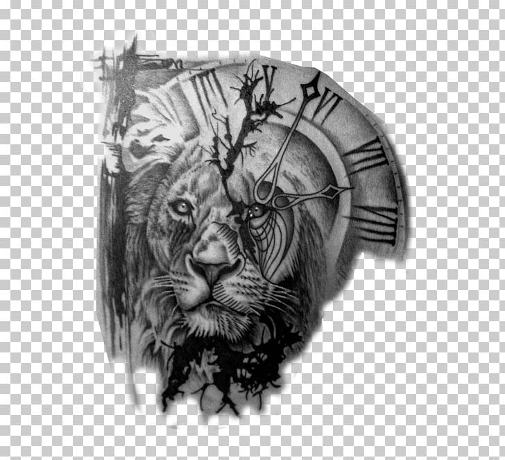 Lion Tattoo Artist Clock Black.
