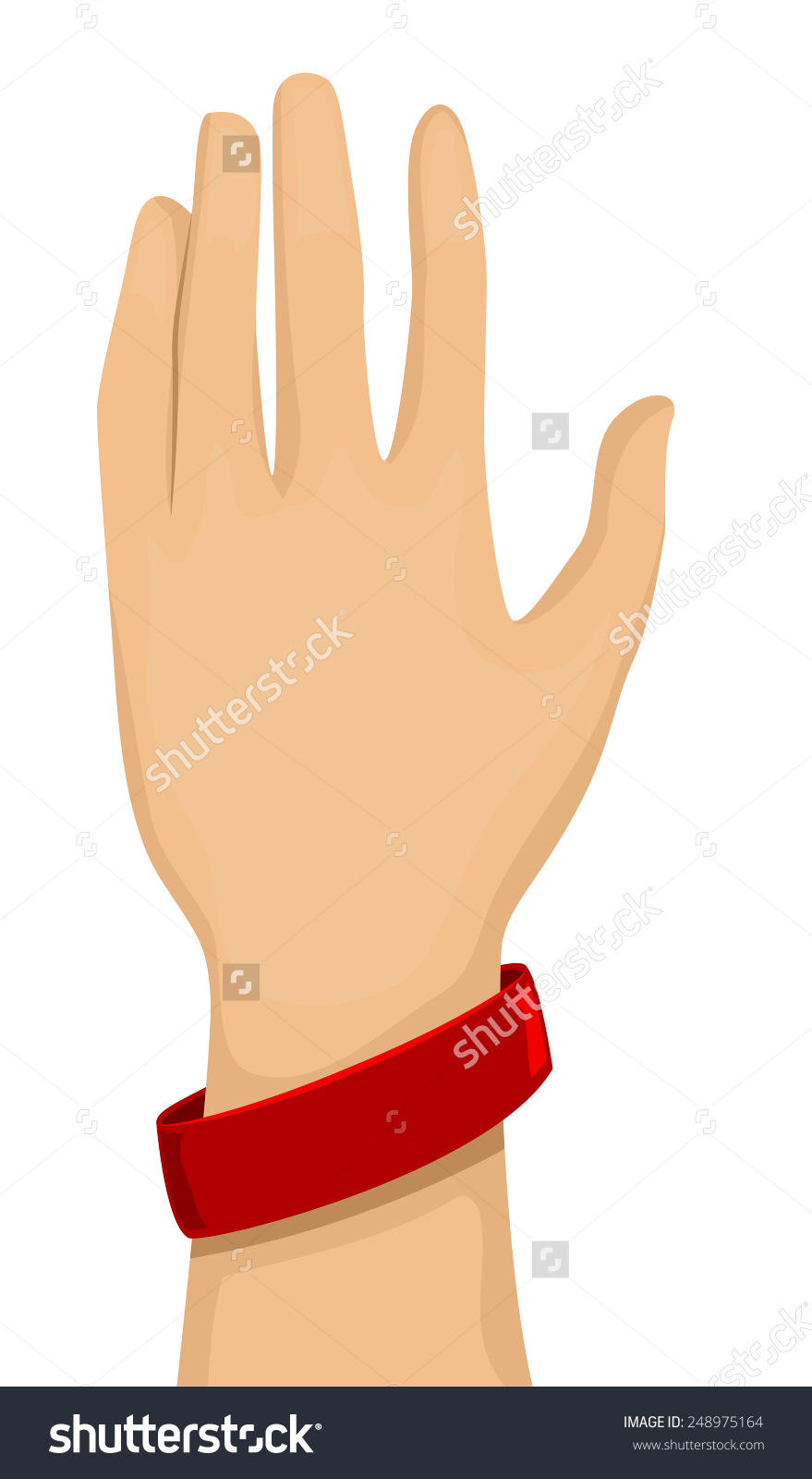 Cropped Illustration Arm Wearing Red Baller Stock Vector 248975164.